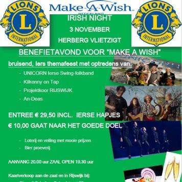 Uitnodiging Irish Night van de Lions Club Rijswijk